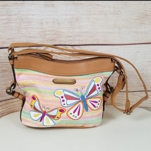 Rosetti Canvas Pastel Watercolor Butterfly Handbag